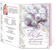 Letter Single Fold : Eternity Wedding Program Templates. Edits easily and quickly in Word, OpenOffice, Publisher, and Apple iWork Pages.