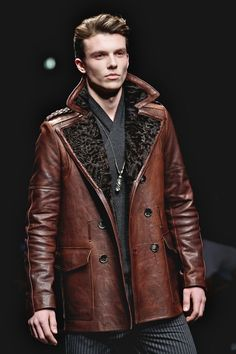 Men's Leather Coats and Jackets for Fall: Roberto Cavalli