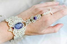 Мicro macrame finger bracelet with amethyst by DancingDakiniWear