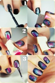 Galaxy nails. So gonna try this. Black base coat. Pick three other colors, dip each corner of a wedge. Stipple. Add a flick of white for stars. Clear or glitter top coat.