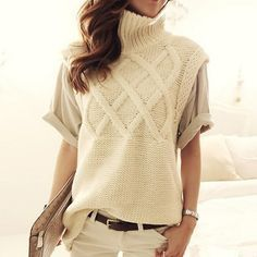 Cheap sweater skirt, Buy Quality sweater brand directly from China sweater jewelry Suppliers: Women's turtleneck thick warm long knit sweaters pullovers female vest 2017 New fall winter ladies top woman sleeveless sweater Ärmelloser Pullover, Pullover Sweaters, Knit Sweaters, Cable Knit Jumper, Knit Vest, Knit Fashion, Sweater Fashion, Womens Fashion, Summer Sweaters