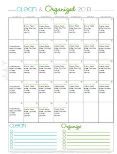 FREE Cleaning Calendar for July - Clean Mama