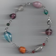 Glass Bead chain bracelet with lobster claw by RoseFireDesigns, $18.00