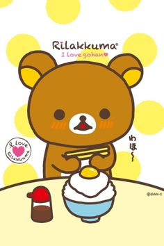 "kumiemon: ★A discount! ★Mini-puzzle 150 pieces ""rilakkuma I Love Rilakkuma - Purchase now to accumulate reedemable points! Rilakkuma Wallpaper, Kawaii Wallpaper, Kawaii Illustration, Japanese Characters, Cute Characters, Pusheen, Decoupage, Japanese Gifts, Little Twin Stars"