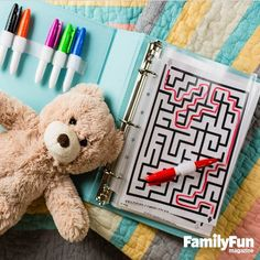 Activity Pages: To keep her five children occupied on their many family car trips, Rashawnda Kemerling of Platteville, Wisconsin, favors a three-ring binder filled with clear plastic sleeves containing blank sheets of paper and simple games, such as hangman and tic-tac-toe.