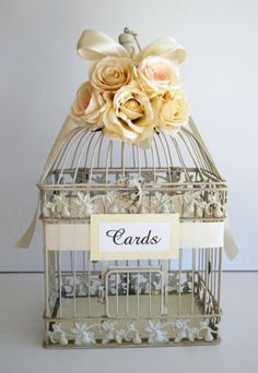 Custom Large Wedding Bird Cage Card Holder Money Holder - Ivory, Champagne, Sahara, $62.00 by cathy