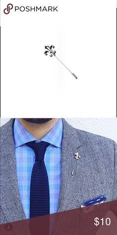 "NWT FLEUR-DE-LIS LAPEL PIN Measures: 2.5"" (6cm) long Color: Silver Backing: Long Stick Pin with Closure Sprezza Accessories"