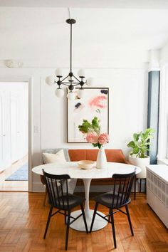 Small Space Living Series- New York City Apartment with Crystal Ann Interiors - . Small Space Living Series- New York City Apartment with Crystal Ann Interiors - Kitchen Nook - Dining Nook, Dining Room Walls, Dining Room Lighting, Dining Room Design, Room Chairs, Small Dining Table Apartment, Dining Table Small Space, White Round Dining Table, Dining Chairs
