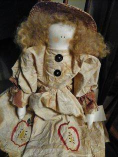 Primitive Country Doll Abigail Appleton by AFrogsKiss on Etsy