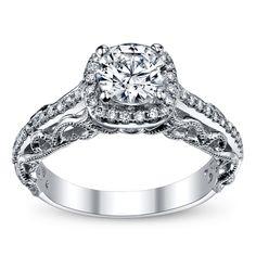 Peter Lam Royal Lace 14K White Gold Diamond Engagement Ring Setting