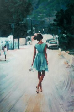 "I can just feel this young woman (girl?) walking along...headed home from some function that required the uncomfortable shoes....but dreamy and happy at whatever took place there.  Love the colors!  Love the implied movement.  Love the dark hair with the color of the dress.  This one speaks to me! (Thomas Saliot; Oil, Painting ""Bare feet, blue dress"")"