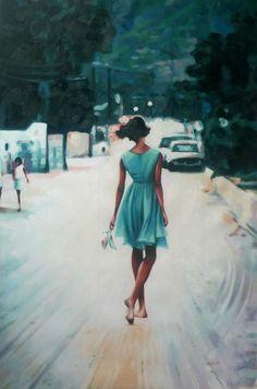 "Saatchi Online Artist: thomas saliot; Oil, Painting ""Bare feet, blue dress"""