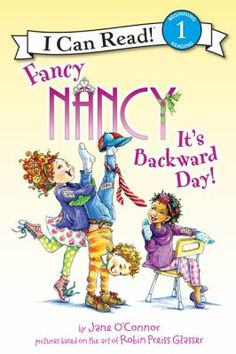 Why is everything topsy-turvy today? It's Backward Day at Fancy Nancy's school!  Everyone is dressed for the occasion. When Ms. Glass can't think of any more backward ideas for the class, Nancy comes up with the perfect way to celebrate the day.