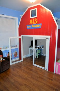 Stylish Eve DIY Projects: Build a Playhouse Loft Bed for Your Child - Stylish Eve Toy Story Bedding, Toy Story Nursery, Toy Story Bedroom, Toy Story Theme, Festa Toy Story, Toy Story Birthday, Toy Story Party, Playhouse Loft Bed, Build A Playhouse
