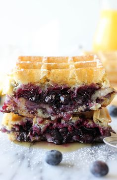 Hey sis, I tried this!  Amazing.  Brie and Blueberry Waffle Grilled Cheese  Notes:  The amount of blueberry filling is not enough for 2 sandwiches so either double it or just eat it open-faced.  Too much waffle ratio.  Also, you can't cut brie thinly, so just clump it on and don't skimp!!!