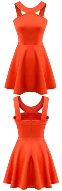 Dress from http://www.sheinside.com/Orange-Strap-Backless-Flouncing-Flare-Dress-p-200649-cat-1727.html also available in white, black and blue 15.90 €