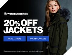 Winter Exclusive Wrap up warm this winter with 20% off jackets from Superdry. From parka coats to bomber jackets. We've got you covered whatever your style. http://bit.ly/2gVxgs2