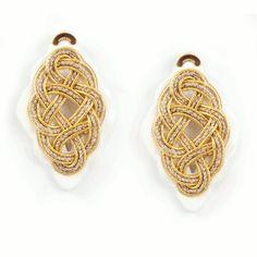 Regina Bianca #earrings #wood #natural fabrics hand woven
