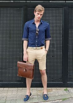 Casual Beige Cotton Shorts styled with a Shirt