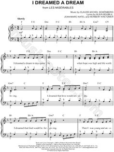 I found digital sheet music (easy piano) for I Dreamed a Dream by Claude-Michel Schönberg from 1980 at Musicnotes.