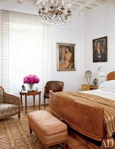 The fashion executive's bedroom is outfitted with a French Art Deco bed made of thuya wood; the chandelier is French, and the nude is by Scuola Romana artist Francesco Trombadori. Carla Fendi's Eclectic Apartment in Rome Photos Interiores Art Deco, Kids Bedroom Furniture, Art Deco Furniture, Lego Bedroom, Furniture Online, Plywood Furniture, Furniture Design, Cama Art Deco, Contemporary Bedroom