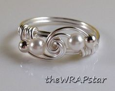 Handmade Jewelry Wire Wrapped Ring Pearl Ring Wire Wrap Ring Simple Rings Swarovski Pearl Knot Ring Jewelry Gifts Under 20 Gifts for Pearl Jewelry, Wire Jewelry, Jewelry Crafts, Beaded Jewelry, Pearl Rings, Jewlery, Jewelry Ideas, Jewellery Box, Jewellery Shops