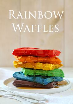 Rainbow Waffles! My kids would love these.