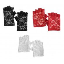 BLACK RED WHITE FLORAL LACE FINGERLESS GOTHIC FANCY DRESS PARTY SHORT GLOVES