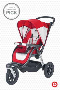 The Chicco Activ3 Jogging Stroller is a stylish combination of an everyday stroller and a fitness jogger. This lightweight jogger features a multi-position reclining seat, 5-point harness, adjustable suspension and easy, one-hand folding. It's the perfect solution for your active family, not to mention your baby registry.