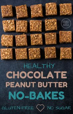 """The """"healthy"""" version of oatmeal no-bake cookies, this chocolate peanut butter oat bar recipe is seriously sooooo good. Gluten-free and no sugar added."""