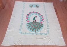 Vintage Peacock Chenille Bedspread White Background CHIC CLASSIC | eBay