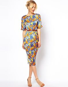 ASOS+Soft+Wiggle+Dress+In+Floral+Print+With+Belt