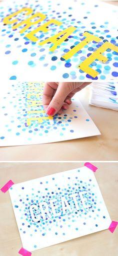 DIY: watercolor polka dot art / Faça você mesmo: arte com bolinhas de aquarela