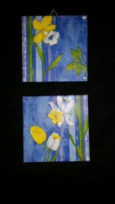 Serviettentechnik ( Blumen blau )