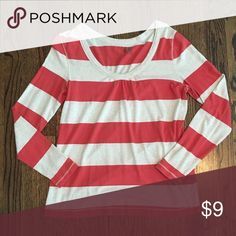 Long sleeve striped shirt Excellent condition. Coral/orange and ivory stopes. Looser fitting around mid section. Old Navy Tops Tees - Long Sleeve