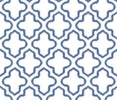 Wallpaper for small bathroom? Ikat Moroccan in Indigo Blue fabric by ambitodesign on Spoonflower - custom fabric