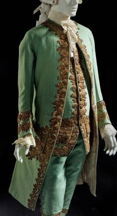 """"""" Century men's matching three piece suit, wool plain weave, with sequins and metallic embroidery, via Rococo Fashion, 1800s Fashion, Victorian Fashion, Vintage Fashion, 17th Century Fashion, 18th Century Clothing, 19th Century, Mode Masculine, Historical Costume"""