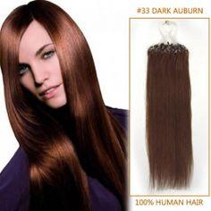26 Inch #33 Dark Auburn Micro Loop Human Hair Extensions 100S
