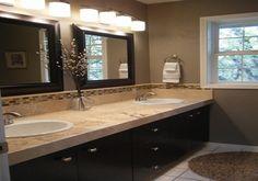 Brown bathroom decor master bath neutral color brown and beige bathroom rustic modern dark cabinets like . Bathroom Mirror Design, Beige Bathroom, Bathroom Interior, Modern Bathroom, Bathroom Lighting, Bathroom Mirrors, Vanity Lighting, Framed Mirrors, Bathroom Designs