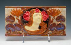 Zsolnay Nereid/Floral Pyrogranite Eosin Tile for Szechenyi Bath
