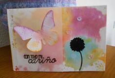 Watercolour and embossed birthday card
