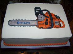 Sweet Husqvarna chainsaw cake