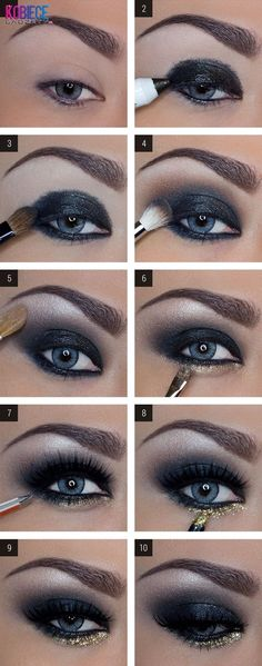 make up guide DAS perfekte Silvester Make-Up! make up glitter;make up brushes guide;make up samples; Dark Eye Makeup, Love Makeup, Skin Makeup, Makeup Eyeshadow, Mac Makeup, Makeup Brushes, Blue Eyeshadow, Perfect Makeup, Amazing Makeup