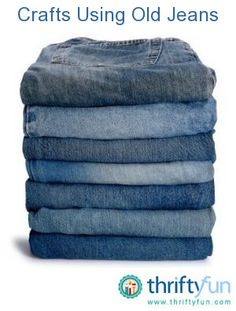 This is a guide about crafts using old jeans. Whether you are thinking of remaking them into other clothing items, decorations, rugs, or something completely different, there is a project just for you. Tons of those hangin' around. Jean Crafts, Denim Crafts, Crafts To Do, Fabric Crafts, Sewing Crafts, Sewing Projects, Scrap Fabric, Recycled Denim, Recycled Crafts