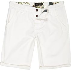 River Island White slim chino shorts ($24) ❤ liked on Polyvore featuring men's fashion, men's clothing, men's shorts, men, shorts, sale, mens chino shorts, mens slim fit shorts, slim fit mens clothing and men's apparel