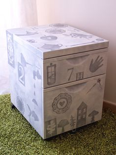 Painted bed-side table (stencil)