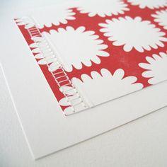 Pikku hand-stitched mums letterpress card