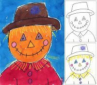 Art Projects for Kids: Scarecrow Portrait - a step by step tutorial on how to draw a scarecrow. This would be a great activity for elementary aged students. #drawing #art
