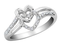 Diamond Double Heart Promise Ring in Sterling Silver