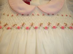 Lets make your Baby Girl look like a Baby Princess !  New hand-made : Boutique Hand-embroidered Smocked Dress - Cream White.  Features:  All